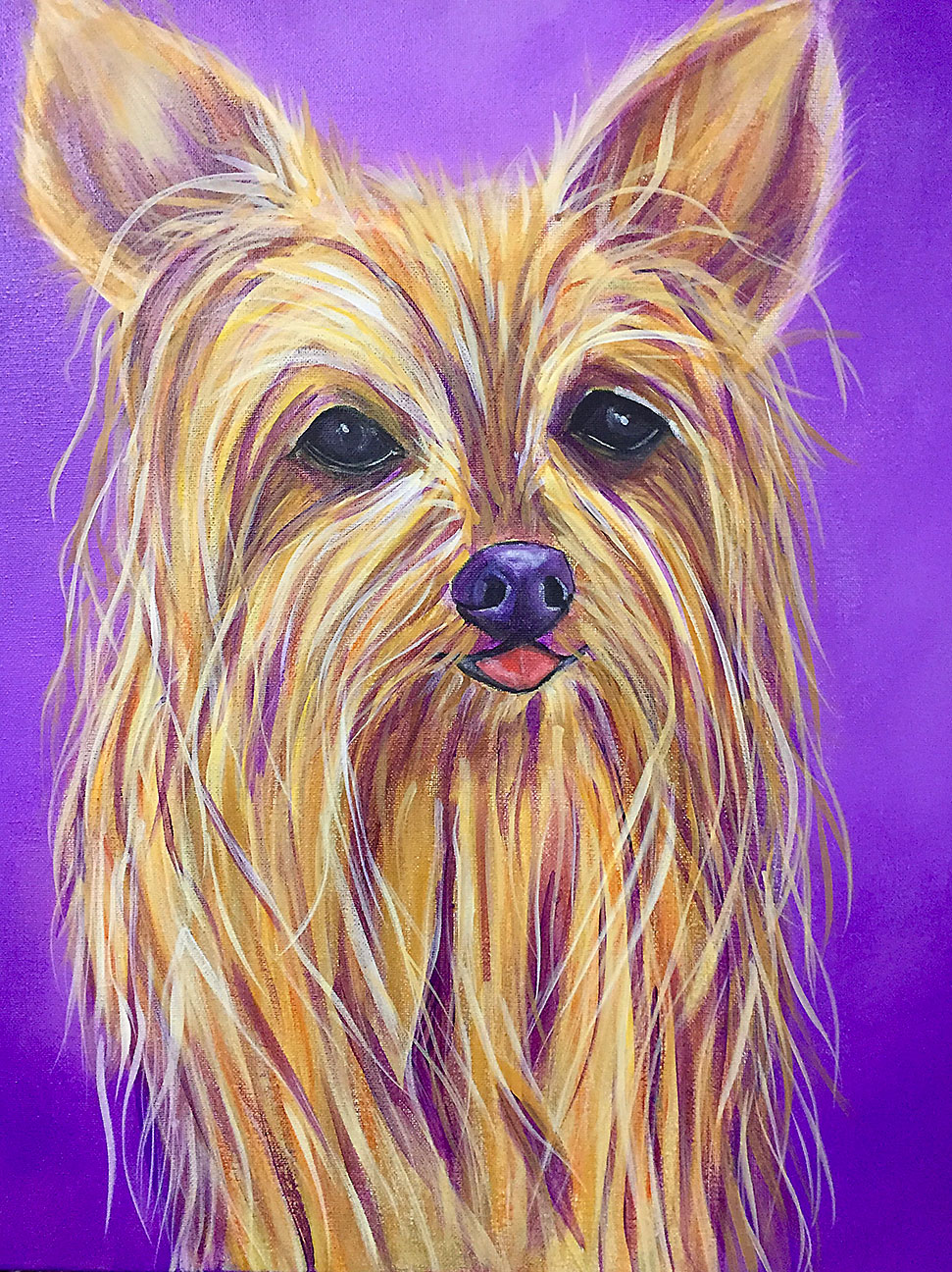 fun painting of your yorkie dog by teri althouse avani studios daytona beach